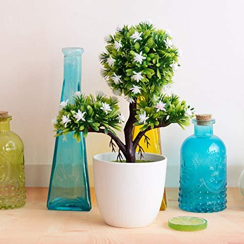 TODGLG 3-pointed plum artificial bonsai, decorative green plants for gardens, porches, flowerbeds, windows, decoration,E