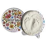 Baby Art - Geschenkbox aus Metall, Rund, besondere Geschenke Box mit Gipsabdruck zum Selbermachen für Baby Fußabdruck oder Handabdruck, Hello Baby Limited Edition Flowers