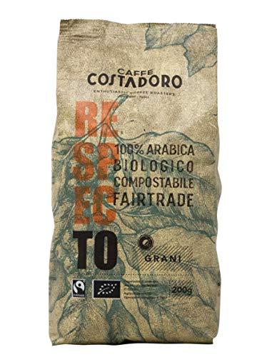 Caffe  Costadoro Caffè Respecto, 100% Arabica, Biologico, Fairtrade, Compostabile In Grani, Sacchetto Da 200G - 200 g