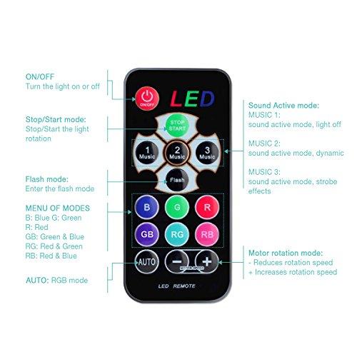 Techole Discokugel LED Party Lampe Musikgesteuert Disco Lichteffekte Discolicht mit 4M USB Kabel, 7 Farbe RGB 360° Drehbares Partylicht mit Fernbedienung für Weihnachten, Kinder, Kinderzimmer, Party - 8