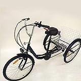 HaroldDol Tricycle 24 Pouces pour Adultes, 6 Vitesses Tricycle Adulte Shopping avec Panier vélo à 3 Roues pour Adultes Tricycle...