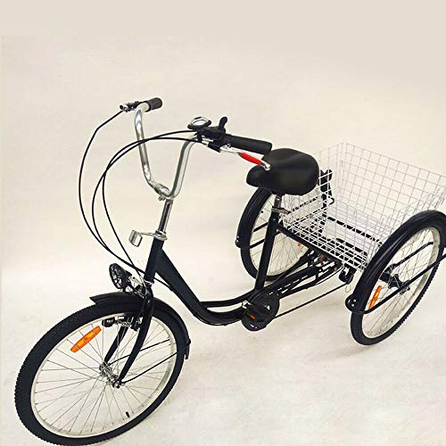 24 Inch Adult Tricycle 6 Speed 3 Wheel Bicycle Senior Bicycle Elderly People Leisure Tricycle with Large Basket Black Classic, Unisex Senior Bike for Parents Gift