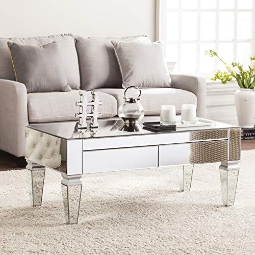 SEI Furniture Darien Contemporary Mirrored Rectangular Coffee Table, Rectangle, Silver