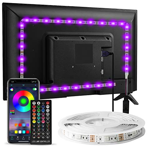 Striscia LED TV Retroilluminazione, Enteenly 3m 9.8 feet Luci LED USB Alimentata con Telecomando e controllo APP, Striscia Luminosa a LED RGB 5050 per HDTV da 40-60 Pollici, PC Monitor