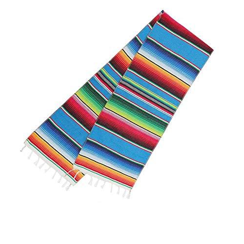 CADXDZS 1 Pieza de algodón Mexicano Camino de Mesa 213X35cm Camino de Mesa arcoíris Mantel de Fiesta DIY Boda Fiesta decoración del hogar