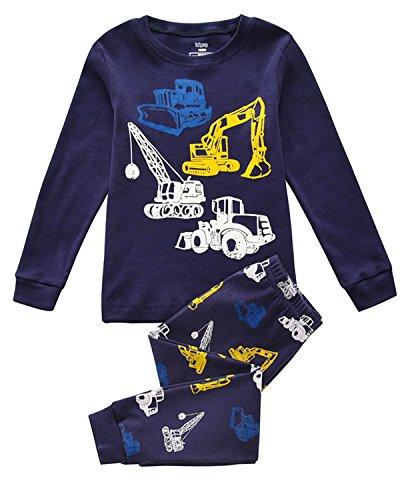 Tkiames Pyjama für Jungen, LKW, Dinosaurier, Kinder-Pjs mit langen Ärmeln, Nachtwäsche Gr. 5 Jahre, navy