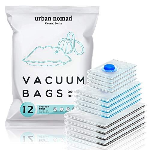 Vakuumbeutel Kleidung 12er Set 3 Größen - Vakuum Beutel für Staubsauger Wiederverwendbar 100% Dicht & Robust | Reise Kompressionsbeutel Kleiderbeutel Aufbewahrungsbeutel Vakuumtüten Kleidersack XL
