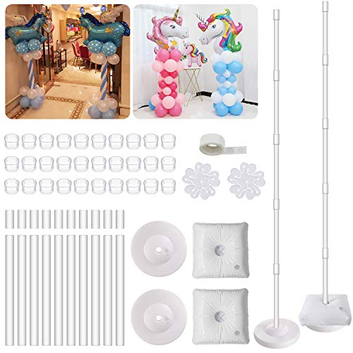 2 Set Balloon Column Kit Base Stand and Pole 61 inch Height [2018 UPGRADE] + 30Pcs Balloon Rings, Balloon Tower Decoration for Birthday Party Wedding Party Event Decorations