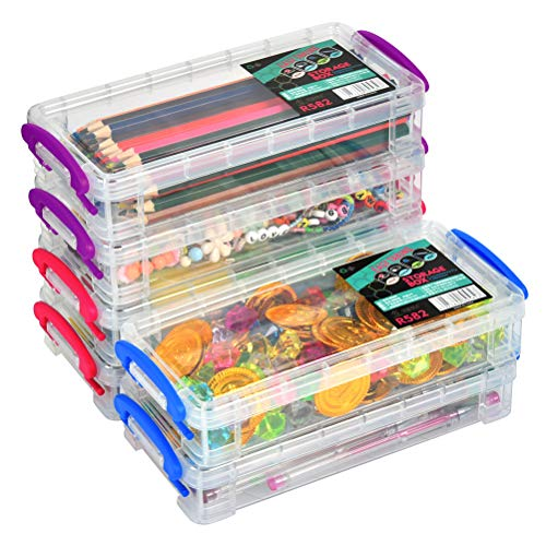 6 Pack Large Capacity Pencil Box, Stackable Clear Plastic Pencil Box, Office Supplies Storage Organizer Box, Brush Painting Pencils Storage Box Watercolor Pen Container, 8.15' x 1.65' x 4'