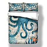 Ropa de cama de delfín 3D, 135 x 200 cm, temática océano, juego de ropa de cama con diseño de tiburón, tortugas hippocampus, con funda de almohada azul para niños y niñas (calamar, 200 x 200 cm)