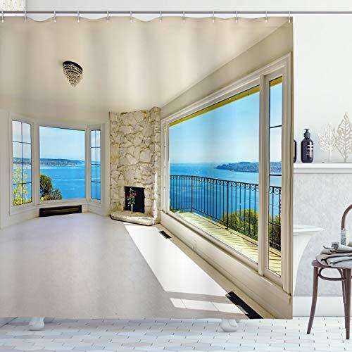 ABAKUHAUS Modern Duschvorhang, Ozean Natur Waldblick, mit 12 Ringe Set Wasserdicht Stielvoll Modern Farbfest und Schimmel Resistent, 175x220 cm, Weiß und Blau