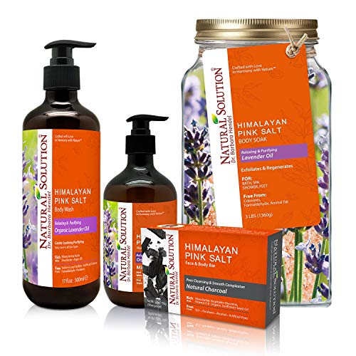 Natural Solution Bath & Body Gift Set with Relaxing Lavender Oil,Includes Body Wash,Hand Soap, Charcoal Soap Bar and Bath Salt,Perfect Gifts Set for Birthday & Christmas