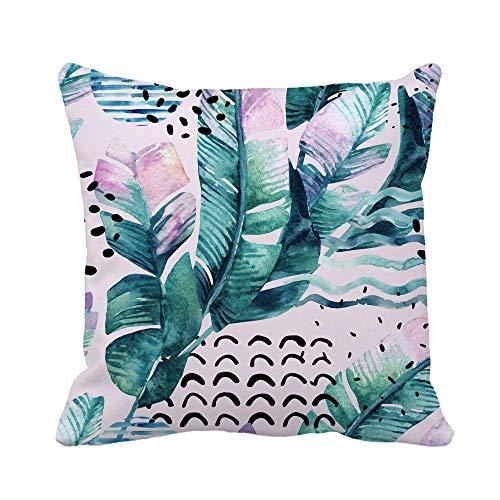 N\A Kissenbezug abstrakt Sommer Tropische Blätter Gekritzel geometrische Formen in 80S Kissenbezug Home Dekorative quadratische Kissenbezug Kissenbezug