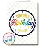 PlayMegram Biglietto di compleanno audio con USB e memoria da 128 MB, per messaggi vocali e musica (MP3), scheda di musica, biglietto di auguri, Happy Birthday, idea regalo creativa