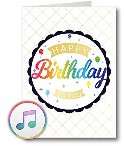 PlayMegram bespielbare Audio-Geburtstagskarte mit USB und 128 MB Speicher, Für Sprachnachrichten und Musik (MP3), Audiogrußkarte, Glückwunschkarte, Happy Birthday Grußkarte, Kreative Geschenkidee