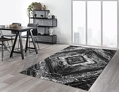 the carpet Crystal Moderner Dichter Kurzflor Wohnzimmer Schlafzimmer Teppich, Melange Effekt, Eleganter Glanz, Glanzfaser, Flauschig, modisch, Geometrisch Schwarz, 200 x 290 cm