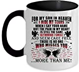 Escondo mis lágrimas cuando digo tu nombre por mi hijo en el cielo Taza decorativa Taza decorativa negra