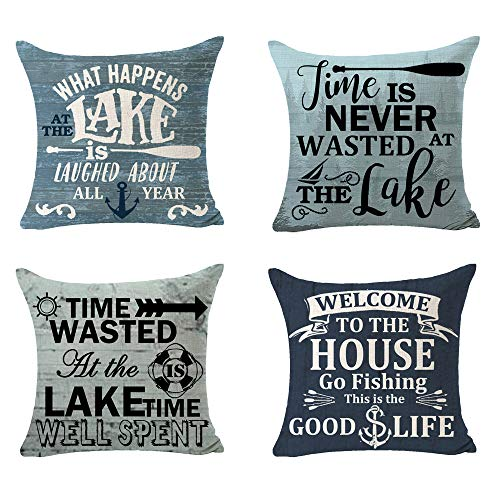 SOPARLLY Set of 4 Time is Never Wasted at The Lake Welcome to The House Go Fishing Cotton Linen Decorative Home Office Throw Pillow Case Couch Cushion Cover 18X18 inches