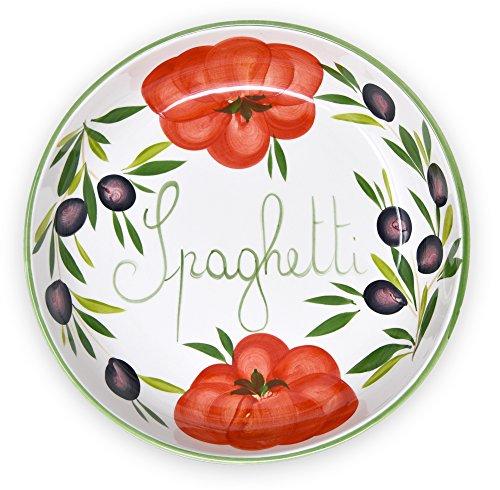 Lashuma Handgemachte Nudelschale aus Italienischer Keramik im Tomatendesign, Runde Pastaschüssel 28 cm, 3 cm tief