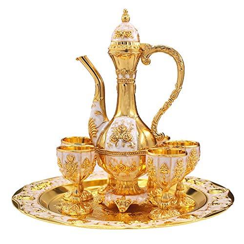 A/A Juego de decantador de vino de estilo europeo con jarra de vino con tazas y bandeja para servir, accesorio para el hogar, regalo de boda