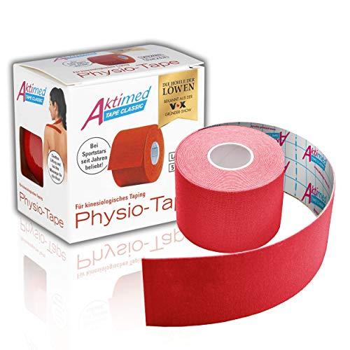 "AKTIMED Tape CLASSIC Physiotape – Sporttape elastisch & wasserfest – Dermatest ""sehr gut"" – Physio Tape atmungsaktiv & hautfreundlich – Tape Kinesologie/Kinesiologie Tapes (rot)"