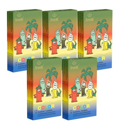 Amor Color, 5x12 gekleurde condooms met smaak (blauw, geel, groen, rood, roze, zwart), speciale aanbieding