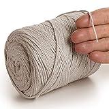 MeriWoolArt - Cordoncino in cotone riciclato, 2 mm x 250 m, per lavori a maglia di piante, gioielli, borse all'uncinetto e decorazioni per la casa (cartone, 2 mm - 250 metri)