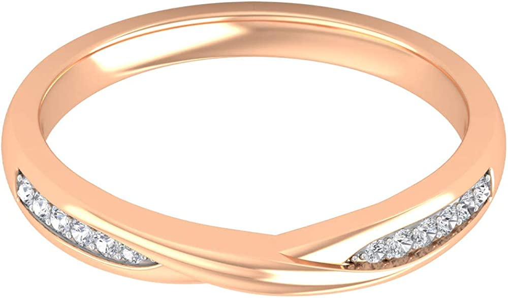 D-VSSI Moissanite Crossover Ring, Cluster Engagement Ring, Twisted Wedding Band, Gold Stackable Ring, 14K Gold