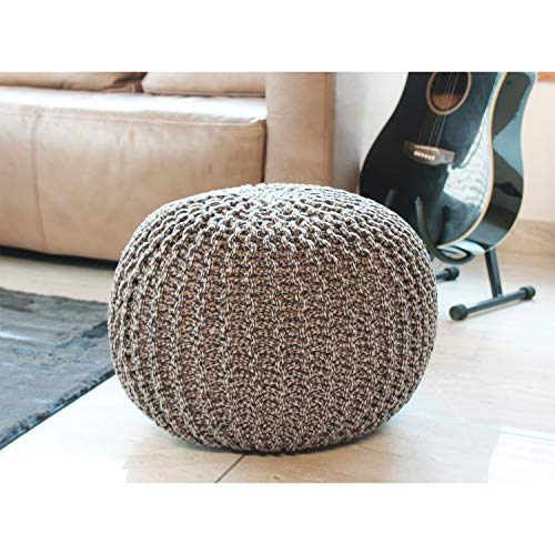 Flooring India Co Pouf, Italian Poufee Sitter Footstool Poufy for Living Room Bedroom Sitting Cafe, Home Decoration in Dual Thread Color Tone Sitter 100% Cotton (Coffee, 20''x20'' Inch)