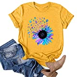 OutTop Graphic Tees for Women Funny Quotes Print Casual Crewneck Short Sleeve T Shirts Solid Loose Tunic Tops Blouse (#04-Yellow, XL)