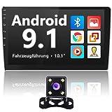 10.1'Android Radio de Coche,Bluetooth Car Stereo con 1080P HD Pantalla Táctil+ Navegación GPS+ Cámara de Visión Trasera+ USB Doble+Control del Volante,Soporte WiFi,MirrorLink,Instalación 2 Din y 1 Din
