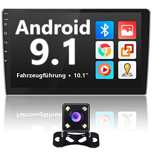 Autoradio Android 10,1  - Autoradio Bluetooth con sistema di navigazione, kit vivavoce, telecamera per retromarcia, doppio schermo Din e doppio USB, supporto WiFi, MirrorLink, 2 Din e 1 Din