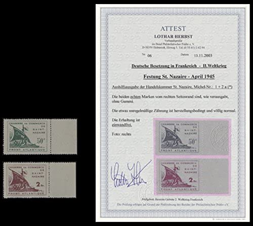 Goldhahn Deutsche Besetzung Frankreich St. Nazaire Nr. 1+2 ungebraucht mit Fotoattest Herbst Briefmarken für Sammler