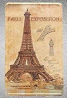 パリエッフェル塔フランス博覧会プラークショップストアブリキ看板壁装飾メタルアートヴィンテージポスター