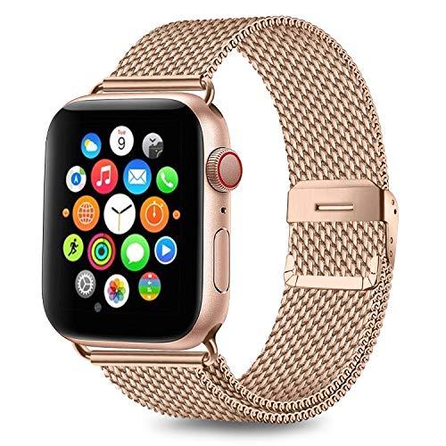 AK kompatibel mit Apple Watch Armband 38mm 40mm 42mm 44mm, Metall Edelstahl Ersatzarmband kompatibel mit iWatch Series 5/4/3/2/1 (03 Roségold, 38mm/40mm)
