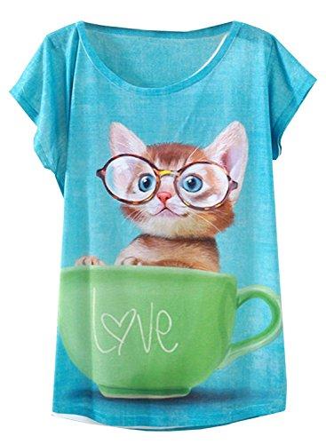 FUTURINO  Damen Garland Flamingo Print Rundhalsausschnitt Kurzarm T-Shirt Top Tees, M, Cup Cat