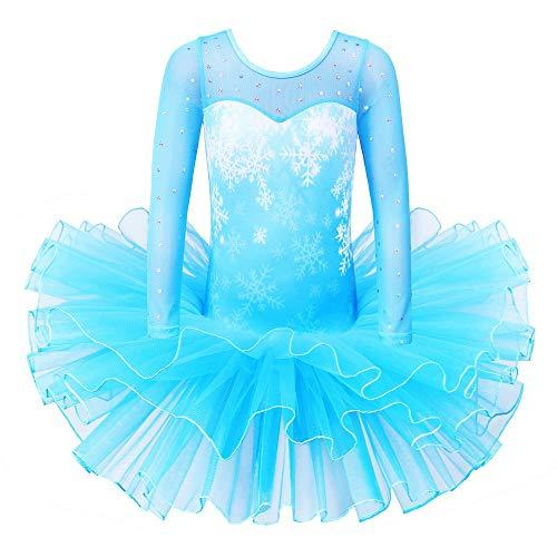 Znyune Mädchen Ballettkleid Prinzessin Glitzerndes Balletttrikot Tutu Mädchen Tanzkleidung Kostüm B222 Schneeflocke Blau XXL