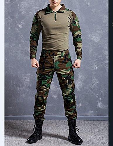 NoGa, uniforme mimetica da commando in tessuto morbido, traspirante e resistente all'usura, comprensiva di giacca e pantaloni tattici, con motivo mimetico in stile militare, Woodland Camouflage, L