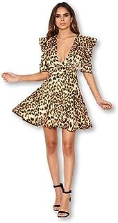 AX Paris Women's Leopard Print Wrap Over Puff Sleeve Dress