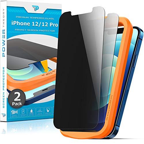 Power Theory Sichtschutz Panzerglas für iPhone 12/iPhone 12 Pro [2 Stück] - Sichtschutzfolie mit Schablone, Schutzfolie, Panzerglasfolie, Panzerfolie, Glas Folie, Displayschutzfolie, Schutzglas