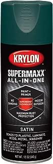 Krylon K08979000 SUPERMAXX All-In-One Spray Paint, Satin Hunter Green, 12 Ounce