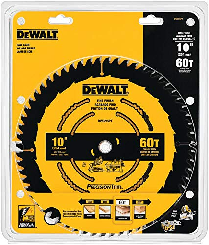 DEWALT 10-Inch Miter / Table Saw Blade, ATB, Crosscutting, 5/8-Inch Arbor, Tough Coat, 60-Tooth...