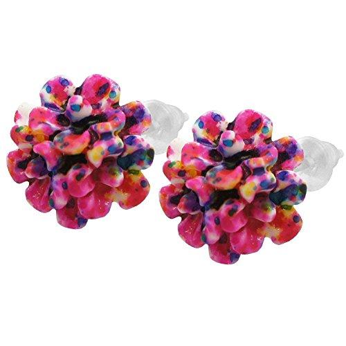 Soul-Cats® 1 Paar Ohrstecker Blüten Blumen Rosen Lotus Kunststoff, Modell: 6