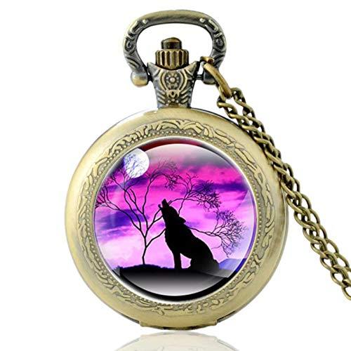 Vintage Bronze Mysterious Wolf Quartz Pocket Watch Retro Men Women Wolf Pendant Necklace Antique Jewelry