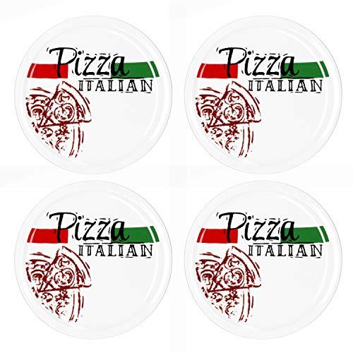 MamboCat 4-er Set Pizzateller Pizza Italian Ø 30cm große weiße Teller aus Steingut zum Anrichten für Pizza und Co oder als Steingutplatte zum Servieren von Wurst und Käse I Pizza Teller mit Motiv