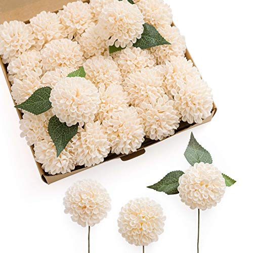 Ling's moment 25pcs Cream Real Looking Fake Dahlia Artificial Flowers w/Stem for DIY Wedding Bouquets Centerpieces Arrangements Party Baby Shower Home Decorations