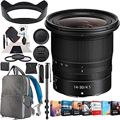 Nikon NIKKOR Z 14-30mm f/4 S Lens Black Bundle with Photo and Video Professional Editing Suite, Photo and Video Backpack, 82mm Filter Kit, 72-Inch Monopod and Cleaning Kit from Nikon
