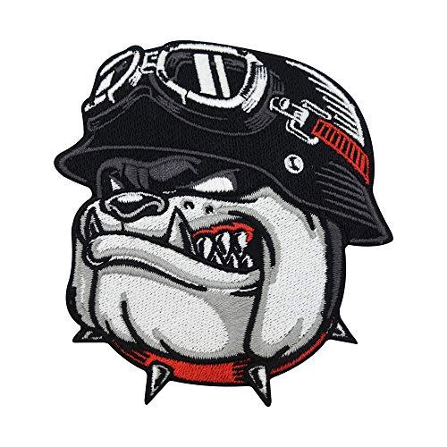Finally Home Écusson Thermocollant | Bulldog motard pour gilets en cuir | Patch à coller au fer à repasser ou à coudre | Pièce de décoration ou réparation pour vêtement, jean, sac, pantalon, veste