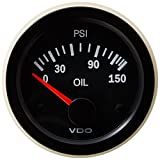 VDO 350108 Vision Style Electrical Oil Pressure Gauge 2 1/16' Diameter, 150 PSI