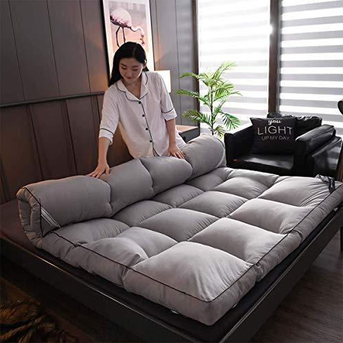 Japanische Bodenmatratze Futon-Matratze, verdickte Tatami-Matte Schlafpolster Faltbare Rollmatratze Jungen Mädchen Schlafsaal-Matratzenauflage Kinder-Liegestühle und Sofas, Grau, 180 * 200 c